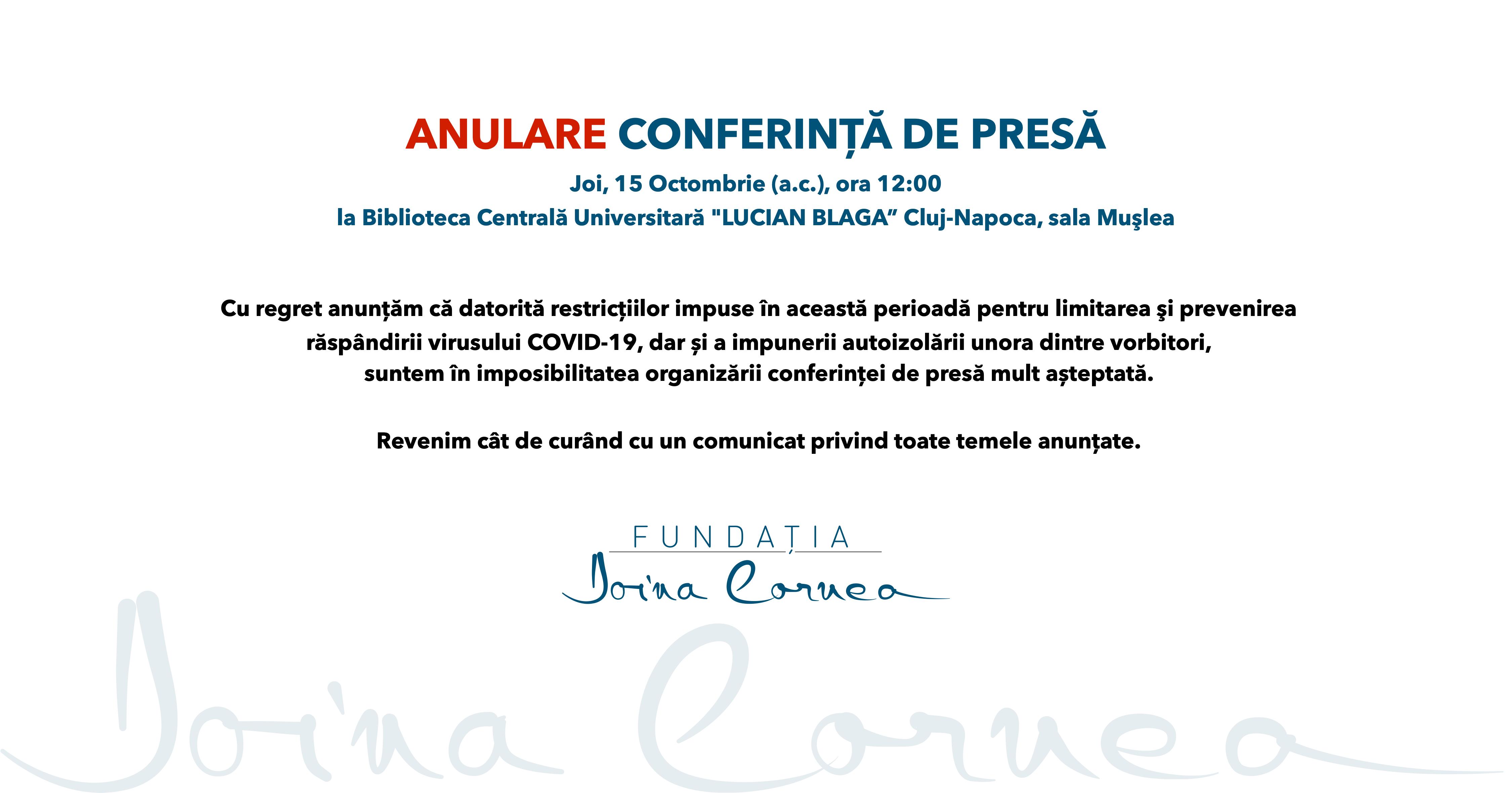 Anulare conferință de presă - Fundația Doina Cornea